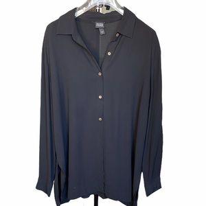 Eileen Fisher Black 100% silk Button down Shirt L